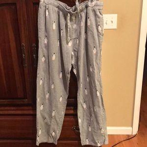 Men's flannel penguin lounge pajama pants large